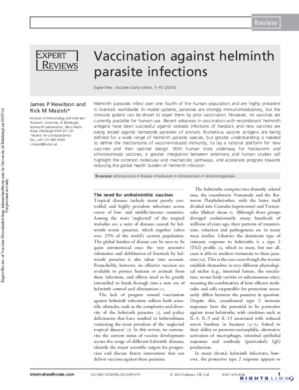 helminth infections vaccine