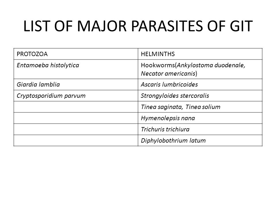 helminth diseases list